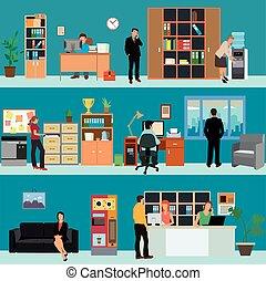 lägenhet, stil, sätta, affärskontor, folk, företag, workers., vektor, rum, mottagande, inre, baner, design., finans