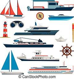 lägenhet, stil, sätta, elementara, ikonen, yacht, isolerat, bakgrund., vektor, design, fartyg, hav, sänder, vit, flotta transportera