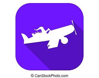 lägenhet, vektor, länge, claus, flygning, ikon, jultomten, illustration, jul, airplane, helgdag, shadow., badge.