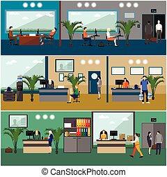 lägenhet, workers., kontor, affärsfolk, room., företag, design, mottagande, interior., eller