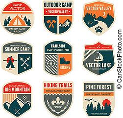 läger, retro, märken