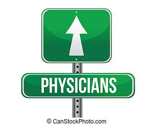läkare, design, väg, illustration, underteckna