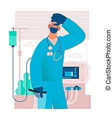 läkare, eller, trött, nurse., förbrukad, worker., tröttkörd, sjukvård