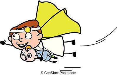 läkare, flygning, -, illustration, vektor, baby, professionell, tecknad film