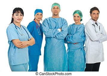 läkare, kvinna, vänskapsmatch, henne, lag