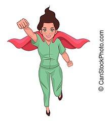 läkare, kvinnlig, flygning