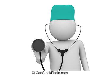 läkare, närbild, arbete