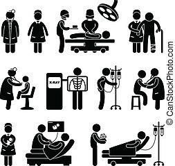 läkare, operation vårda, sjukhus
