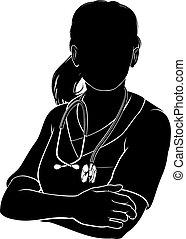 läkare, silhuett, skura, sköta, kvinna