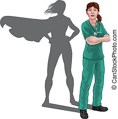 läkare, sköta, skugga, superhero, fantastisk landgångssandwich, kvinna