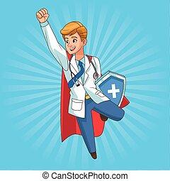 läkare, skydda, toppen, flygning