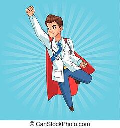 läkare, toppen, komiker, flygning, tecken