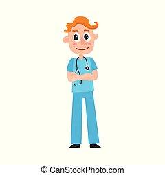 läkare, ung, terapeut, internera, skura, manlig