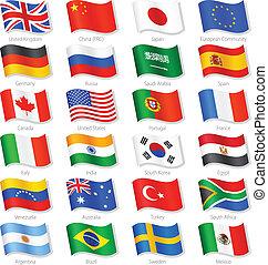 länder, topp, vektor, flaggan, värld, medborgare