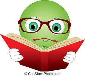 läsa, bok, illustration, vektor, grön röd, smiley-ball, glasögon