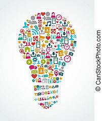 lätt, eps10, ikonen, media, idé, isolerat, social, lök, file.