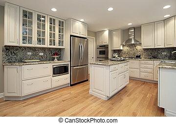 lätt, färgad, cabinetry, kök