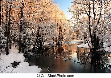 lätt, flod, vinter, soluppgång
