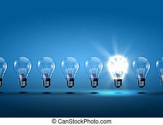 lätt, rad, glödlampor