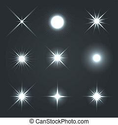 lätt, set., verkan, stjärnor, signalljus, glöd