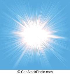 lätt, starburst, himmel