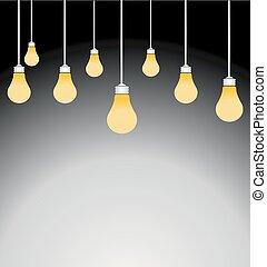 lätt, vektor, illustration, glödlampor