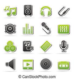 låt musik, audio, ikonen
