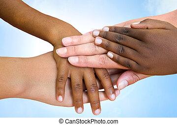 löpningen, mänsklig, hands., sammanfogning