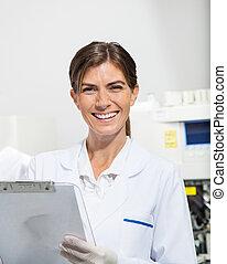 laboratorium, forskare, skrivplatta, holdingen