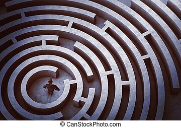labyrint, centrera