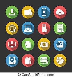 ladda ner, symboler, sätta, internet ikon