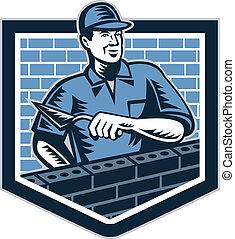 lag, arbetare, murare, retro, frimureri, tegelsten