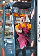 lager, arbetare, gaffeltruck, chaufför