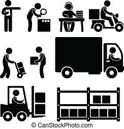 lager, leverans, logistisk, ikon