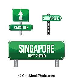 land, singapore, vägmärke