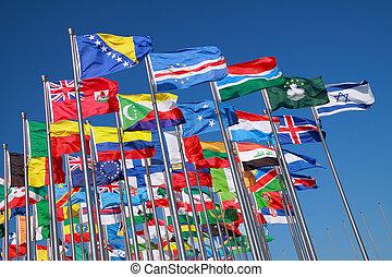 land, värld, flaggan, omkring
