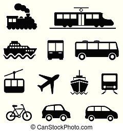 landand transportmedel, ikonen, luft, hav, publik