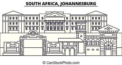 landskap., illustration., stadsbild, milstolpar, synen, vektor, berömd, syd, johannesburg, fodra, horisont, stad, linjär, afrika
