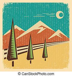 landskap., illustration, vektor, årgång, natur