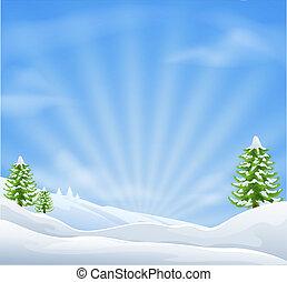 landskap, jul, bakgrund, snö