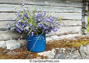 lantlig, blomningen, bukett, landskap, fält, amidst