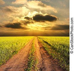 lantlig, kväll, väg, landskap