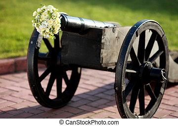 lastat gevär, buketter, bröllop