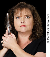 lastat, kvinna, gevär, holdingen
