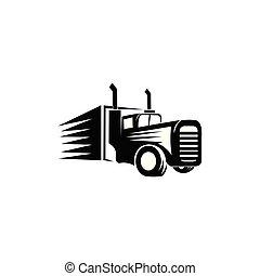 lastbil, bogsera, släpvagn, transport, logo