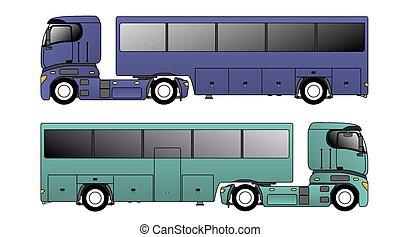 lastbil, europe, dragande, släpvagn, buss