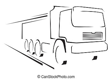 lastbil, illustration, symbol, vektor