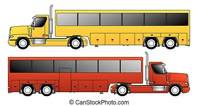 lastbil, konventionell, dragande, släpvagn, buss