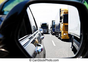 lastbil, marmelad, trafik, motorväg