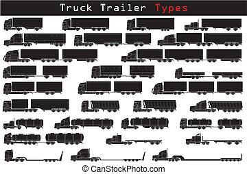 lastbil, slagen, släpvagn